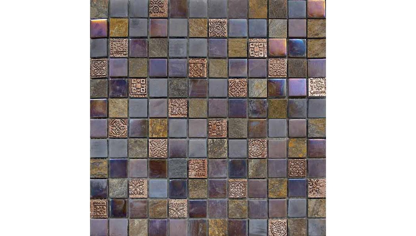 Mosaikmatte Keramikmosaik Mosaikfliesen 305 x 322 mm mix weiß//braun//dunkelbraun